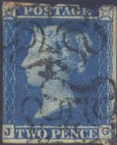 1841 2d Blue SG14 Plate 3 'JG' CV, No.1 in MX